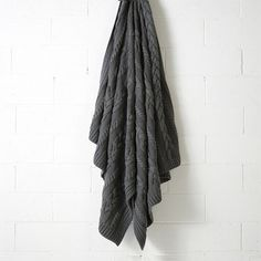 Jumbo Cable Knit Throw Rug Charcoal - Bed Runners and Throws - Living Knitted Cushions, Knitted Throws, Sofa Throw, Throw Rugs, Cable Knit Throw, Stylish Beds, Bed Runner, Cotton Throws, Modern Sofa