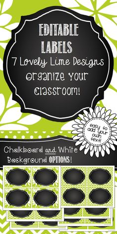 Editable Labels in a 7 lovely lime designs! Perfect for classroom organization, bin labels, shelf labels, locker tags, name tags, etc.! With both chalkboard and white frames. Gorgeous!