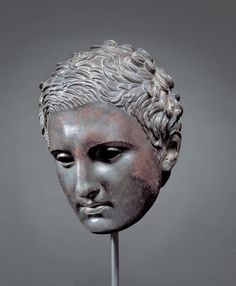 """Head of an Athlete (""""Ephesian Apoxyomenos Type""""), 200 – 1 BC; bronze and copper. Lent by the Kimbell Art Museum, Fort Worth, Texas Ancient Greek Sculpture, Greek Statues, Ancient Greek Art, Hellenistic Art, Hellenistic Period, Bronze Sculpture, Lion Sculpture, Sculptures, Zeus Statue"""