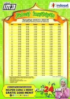 Jadwal Imsakiyah 1435 H untuk daerah Bandung dan Sekitarnya