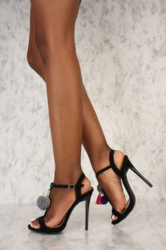 Sexy Black Pom Pom T-Strap Open Toe Single Sole High Heels Nubuck