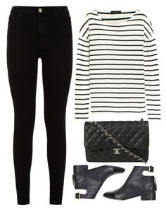 """stripes"" by ecem1 ❤ liked on Polyvore featuring 7 For All Mankind, J.Crew, Chanel and Topshop"