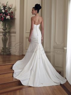Mermaid Taffeta Ruched Bodice Sweetheart Neckline Chapel Length Train Wedding Dresses (MB19216) - Canada Wedding Dresses Shop