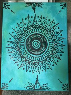 Items similar to Henna Canvas - Turquoise on Etsy Henna Canvas - Turquoise<br> Mandala Art, Mandalas Painting, Mandalas Drawing, Zentangles, Henna Canvas, Diy Canvas, Canvas Art, Simple Paintings On Canvas, Canvas Crafts