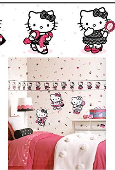 Hello Kitty White Dress Up Wallpaper Border SALE - Wall Sticker Outlet
