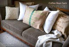 No sew burlap coffee bean sack sofa pillows... instantly! via http://www.funkyjunkinteriors.net/