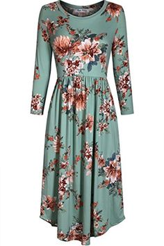 Bon Rosy Women's 3/4 Sleeve Floral A Line Midi Dress With... https://www.amazon.com/dp/B079M14GW7/ref=cm_sw_r_pi_dp_U_x_AeDLAbDH2QB6Z