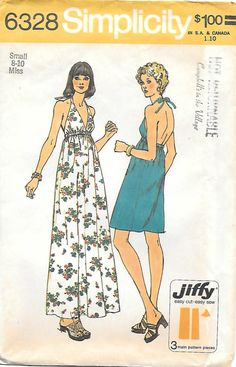 1970's Halter Dress Simplicity 6328 Sewing Pattern, offered on Etsy by GrandmaMadeWithLove