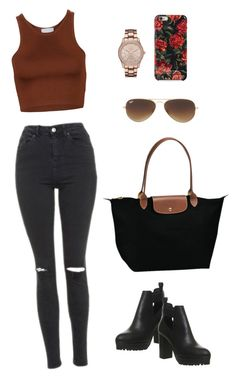 """Outfit #9"" by ancara on Polyvore featuring Isaac Mizrahi, Geneva, Longchamp, Topshop, Office and Ray-Ban"