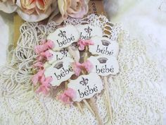 French Bebe Baby Shower Parchment Cupcake Toppers Baby Shower Party Picks - Choice of Ribbons - Set of 18 on Etsy, $19.50