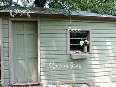Spunky Real Deals: Annie Sloan Chalk Painted Shed {You can DIY} ~ Chateau Grey and Coco Back Gardens, Small Gardens, Courtyard Gardens, Painted Shed, Hand Painted, Antibes Green, Shutter Colors, Outdoor Rooms, Outdoor Decor