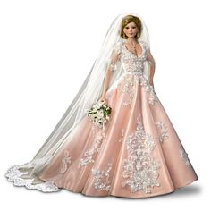 bride dolls When she was a little girl, Elizabeth would sit on the staircase and ponder the generations of family photographs that adorned the wall beside it. There was one particular pict Barbie Wedding Dress, Barbie Gowns, Barbie Bridal, Barbie Clothes, Barbie Doll, Barbie Stuff, Barbie Dress, Ashton Drake, Chapel Length Veil