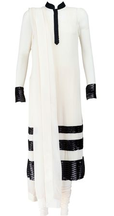 White and black georgette kurta set with churidar and dupatta with sequin