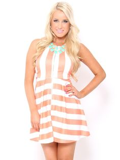 Knit Stripe Skater #Dress in Peach