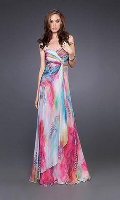 Long Print Prom Dress by La Femme 15409 at PromGirl.com
