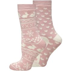 Dorothy Perkins Pink 2 pack of Rabbit Terry Socks ($8.12) ❤ liked on Polyvore featuring intimates, hosiery, socks, pink, dorothy perkins, terry cloth socks, fair isle socks, pink socks and thick socks