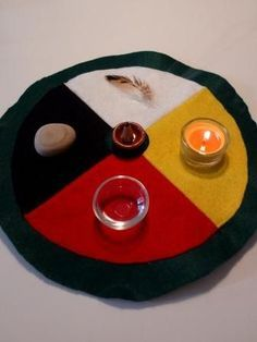 As a physical representation of spiritual energy, the Medicine Wheel is a circle divided in four parts. It honors the four cardinal directions (East, South, West and North), four Seasons of the year (Spring, Summer, Autumn, Winter), four elements (Fire, Water, Earth and Air) and our four levels of existence (Spiritual, Emotional, Physical and Mental). Some also relate different power animals to each cardinal direction and the four colours of human races (Yellow, Red, Black and White).