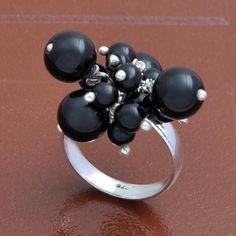 925 SOLID STERLING SILVER  EXCLUSIVE BLACK ONYX FANCY RING 7.36g DJR3674 #Handmade #Ring
