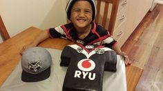 Our little friend Ryu with his Vodafone Warriors inspired cap and jersey cake #WarriorsForever #Cake #Jersey #Cap