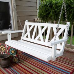 Would compliment the white crowd-buck fencing on front porch. Porchgate Amish Made Haven 4ft. Recycled Plastic Porch Swing