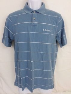 COLUMBIA Mens Short Sleeve Striped Blue Small S 100% Cotton Polo Shirt #Columbia #PoloRugby