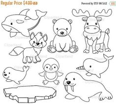 Arts And Crafts For Toddlers Product Artic Animals, Clip Art, Dibujos Cute, Animal Coloring Pages, Watercolor Artwork, Preschool Art, Animal Crafts, Digital Stamps, Grafik Design