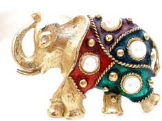 Pearl-Enamel-Elephant-Brooch-Vintage-Red-Green-Figural-Pin-Trunk-Up-Good-Luck
