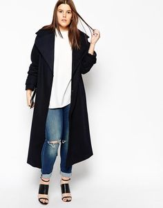 ASOS Curve | ASOS CURVE Coat With Military Detail In Maxi Length at ASOS