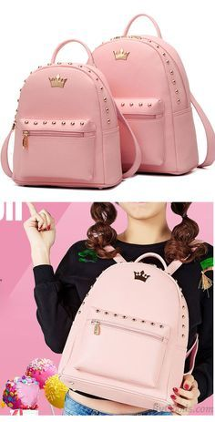 Leisure Lady Rucksack Punk Crown Rivet PU School Backpack for big sale!   backpack  school  college  bag  girl  student  leisure  travel  crown  pink   rivet bc7bd1fe04cf9