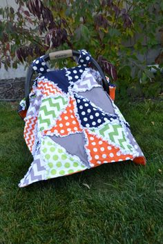 Car Seat Tent in Polka Dot and Chevron, Gray, Green, Orange, and Navy Blue