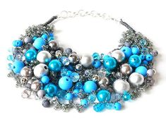 3563 turned necklace, necklace, gray, blue, silver, every day, for a gift, for a party,