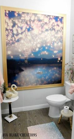 """Shower Curtains Are Not Just For Showers! I have used tablecloths, but never shower curtains!"""" said a reader when she saw this hanging wall art idea: Disney Shower Curtain, Shower Curtain With Valance, Bed Curtains, Drop Cloth Curtains, Hanging Beds, Hanging Wall Art, Curtain Hanging, Hanging Chairs, Luxury Vinyl Tile Flooring"""