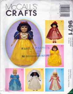 McCalls 9671, 18 Inch Doll Clothes Sewing Pattern, American Girl Size Storybook Costume Patterns , Red Riding Hood, Snow White, Belle by OnceUponAnHeirloom on Etsy