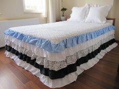 queen bed spread Waterfall tiered ruffled skirted by nurdanceyiz, $540.00 Bed Skirts, Queen Beds, New Room, Bed Spreads, Comforters, Waterfall, Shabby Chic, Room Ideas, Romantic