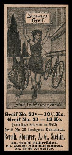 Alte Reklame Werbung 1898 Stoewer´s Greif Fahrräder Bernh. Stoewer Stettin
