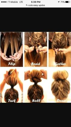Quick And Easy Hair Style-flip head over -take 3 parts -do normal French braid -gather all your hair and tie it -role bun,spreading hair around it -clip it and your done Easy Hairstyle Video, Easy Work Hairstyles, Easy Updos For Long Hair, Easy Everyday Hairstyles, Greasy Hair Hairstyles, No Heat Hairstyles, Workout Hairstyles, Girl Hairstyles, Hairstyles For Working Out