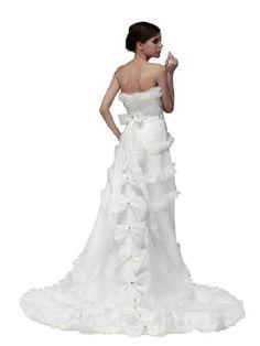 Remedios Boutique Ruffled Organza Hi Lo A Line Wedding Dress with Bows