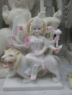 Are you searching for the White Marble Durga Moorti Manufacturers in India? Are you looking to Buy Maa Durga Moorti in White Marble? Do you want to place bulk order for Maa Durga Moorti in White Marble?  Place Order Now at Agrawal Moorti Bhandar to Purchase White Marble Durga Moorti Call: +91-9828854094,  +91-9828842505,  +91-7014882179  #Buynow #Placeorder #DurgaMoorti #Templedecor #Homedecor #Manufacturer #India #Godstatue  Navratri Images, Durga Maa, Angel Cards, Spiritual Development, White Marble, Projects To Try, Hippie Man, Lion Sculpture, Bulk Order