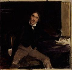Unfinished Portrait of Sir Henry Irving, 1880 by Jules Bastien-Lepage (French 1848–1884)......This portrait was conceived at a supper party at the Lyceum on 3 July 1880, when Irving and Ellen Terry entertained Bastien Lepage and Sarah Bernhardt. It was abandoned after only one or two sittings, at Irving's rooms in Grafton Street, presumably because Irving intensely disliked Bastien's informal depiction of him.....