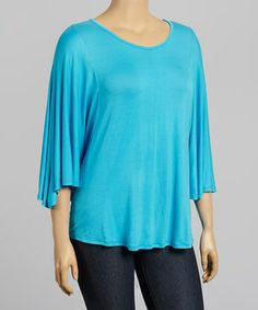 This Blue Cape-Sleeve Top - Plus by Poliana Plus is perfect! #zulilyfinds