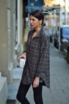 my three favorite things: oversized button-downs, leather and coffee.