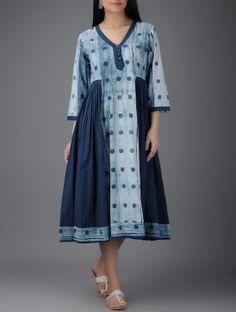 Indigo-Ivory Shibori-dyed Cotton Dress with Gathers