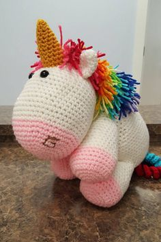 Crochet Amigurumi Unicorn Rainbow Unicorn by LoveForYarnTreasures
