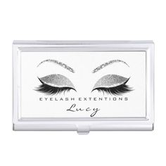 Beauty Lashes Makeup Grey Silver Gray Glitter Whit Business Card Case Custom Office Retirement #office #retirement