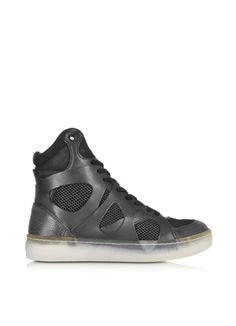 McQ Alexander McQueen x Puma Black Leather And Mesh Move Mid High-Tops