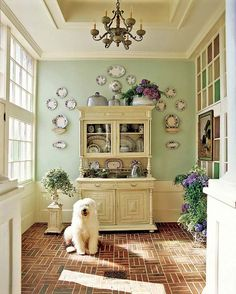 Every home's mudroom should look so good—A coffered ceiling creates architectural character overhead. Cottage Homes, Cottage Style, My Living Room, Living Spaces, Traditional Home Magazine, Home Design, Interior Design, Interior Ideas, Sweet Home