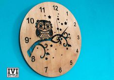 Ceas de Perete din Lemn Bufnita si Stelute  Wooden Wall Clock - Stars and Owl  Visit for more.