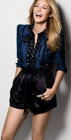 Blake Lively ♥ gorgeous blouse and shorts <3 delightful laugh <3