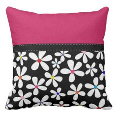 Retro Trendy Flowers Throw Pillow