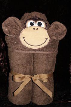 Appliqued Hooded Towel for Children Monkey by kristinj72 on Etsy, $25.00